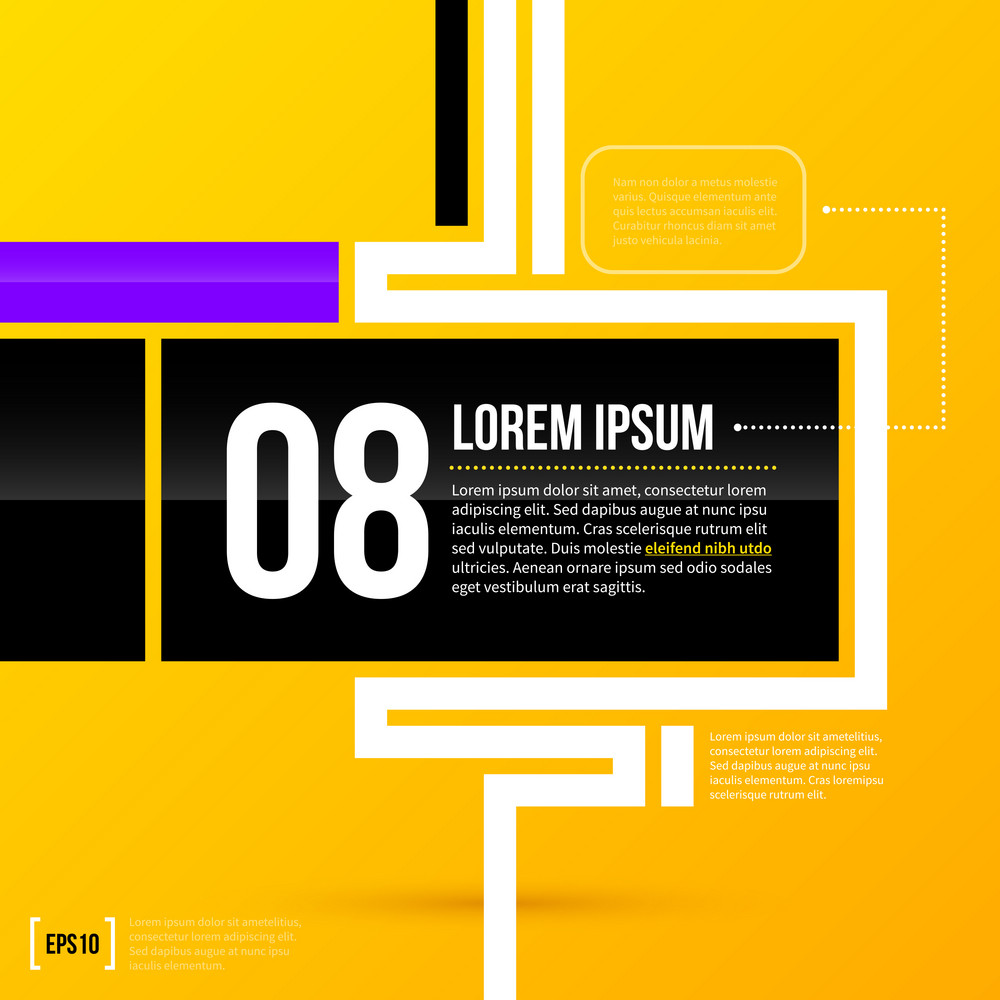 Horizontal Text Frame Template On Bright Yellow Background In Modern Corporate Style. Eps10