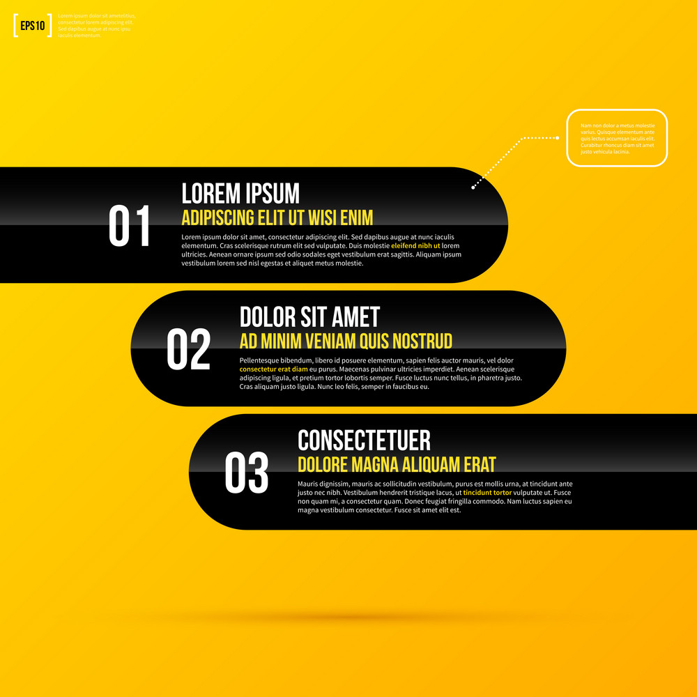 Vector Template With Three Horizontal Options On Bright Yellow Background. Eps10