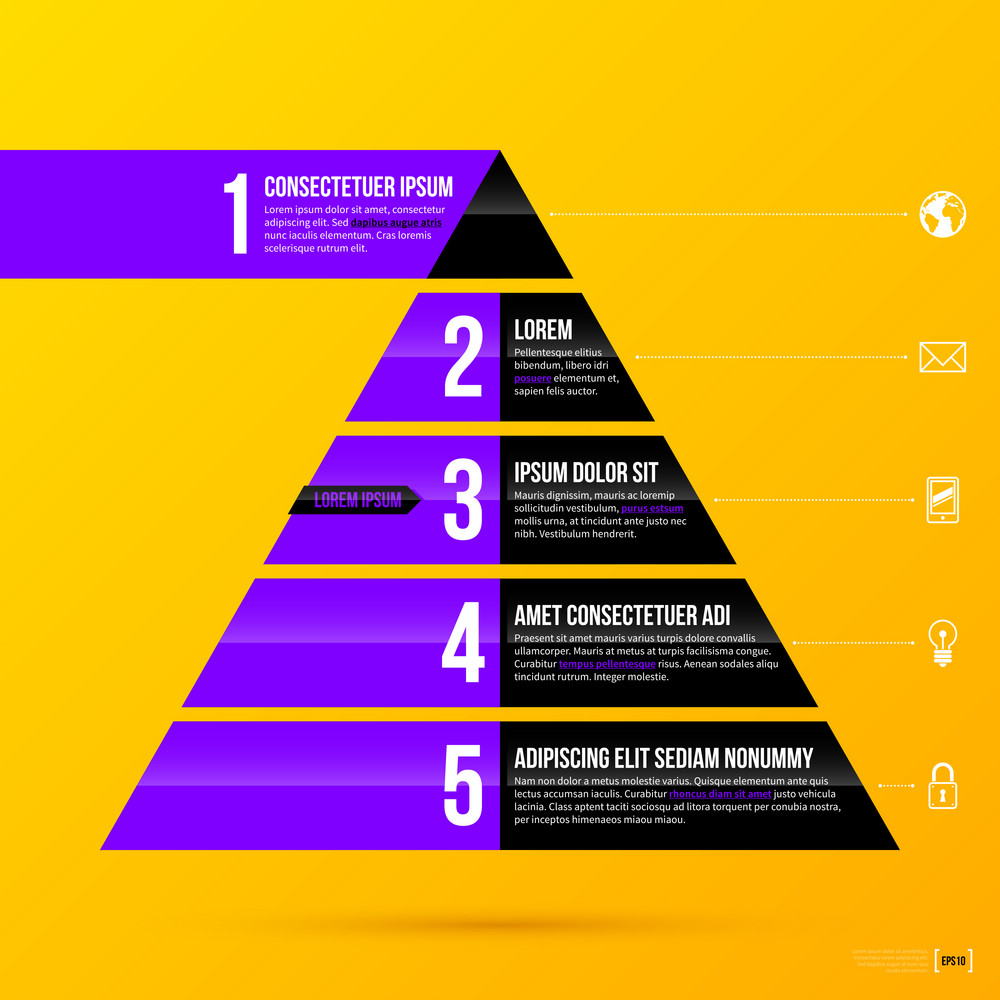 Pyramid Chart Template On Bright Yellow Background In Modern Diagram Corporate Style Eps10