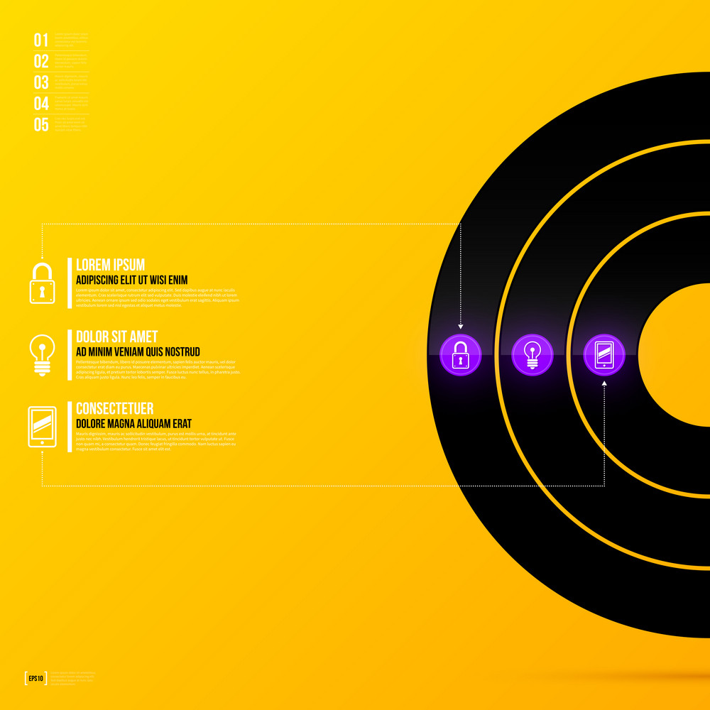 Vector Layout Template With Three Options On Bright Yellow Background In Modern Corporate Style. Eps10