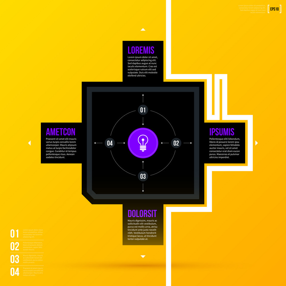 Vector Cycle Template With Four Options On Bright Yellow Background. Eps10
