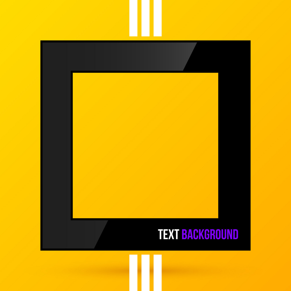 Square Text Frame On Bright Yellow Background. Eps10