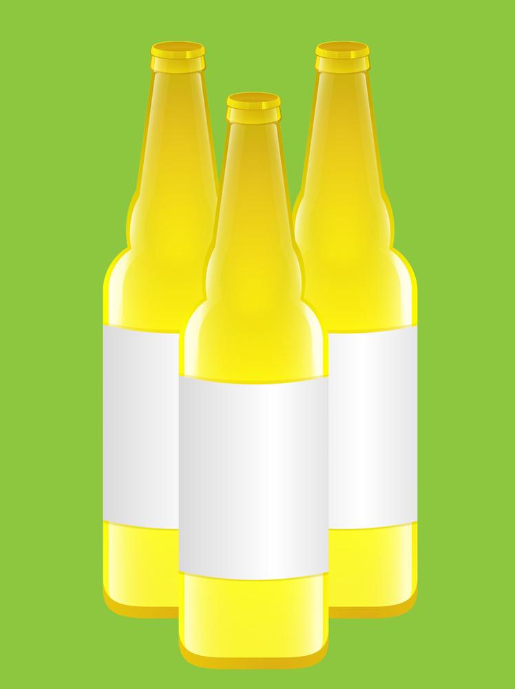 Yellow Beer Bottles Vectors