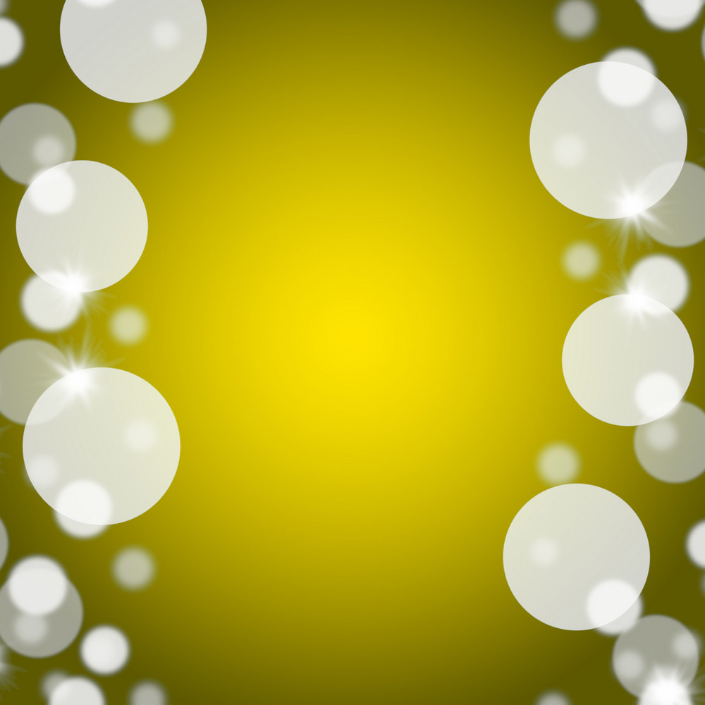 Yellow Bokeh Background With Blank Copy Space And Border