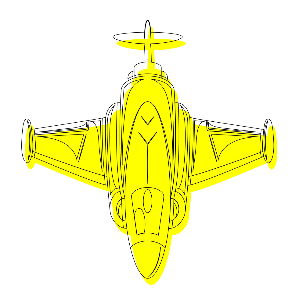 Yellow Fighter Plane Drawing