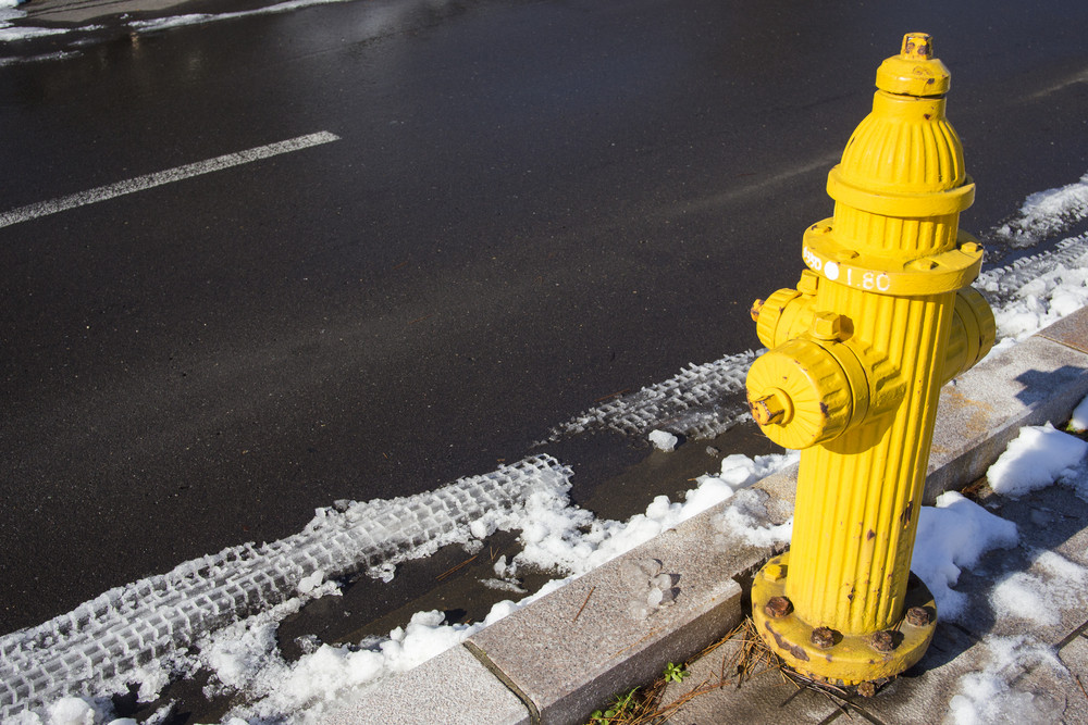 Yellow Fire pumps on the street