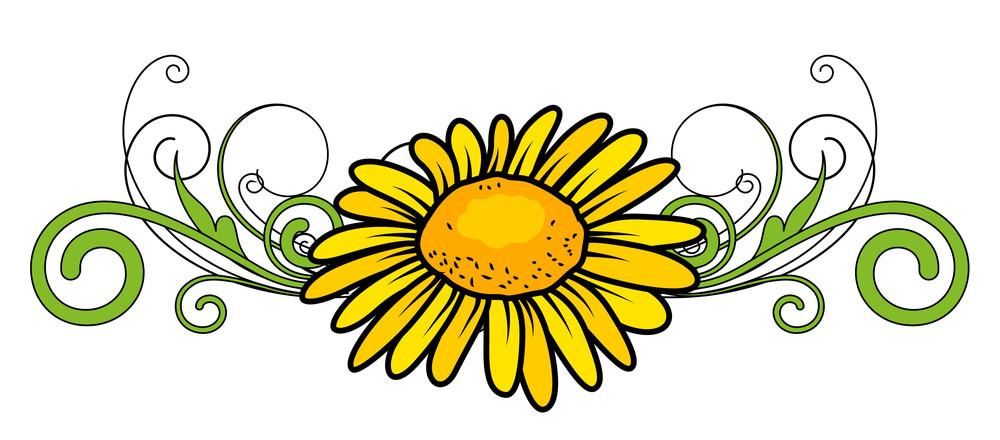 Yellow Flower Divider Vector