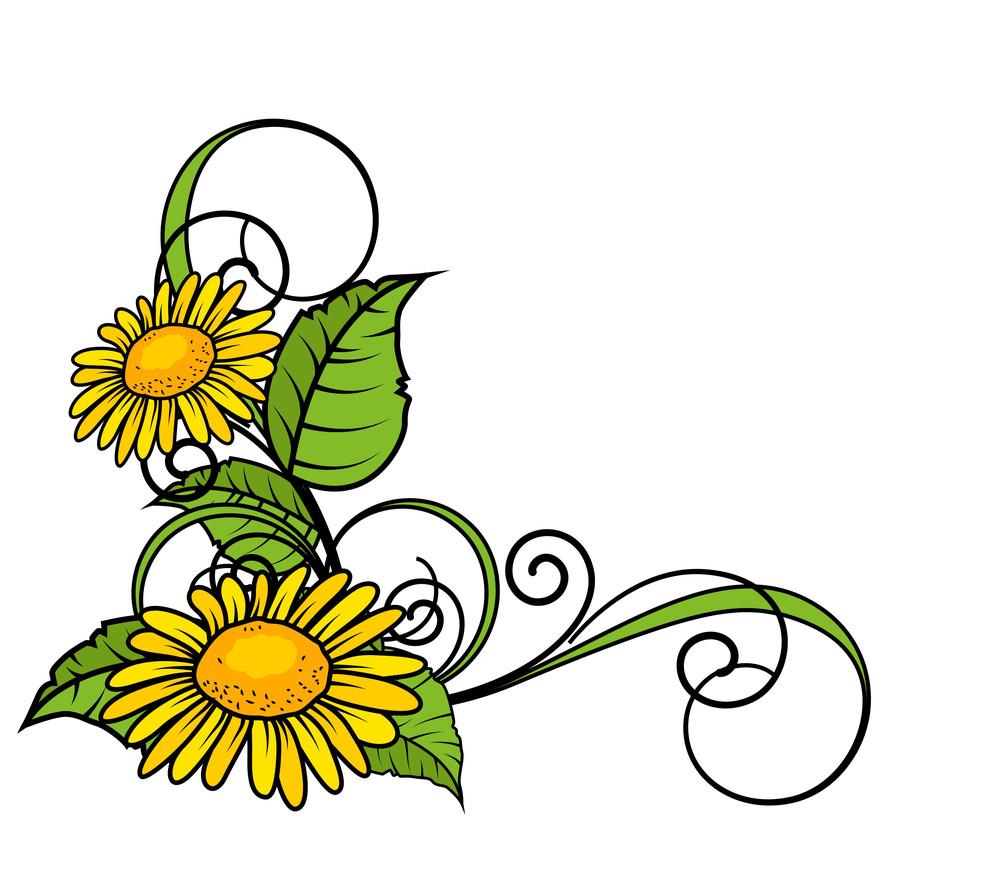 Yellow Flowers Corner Frame