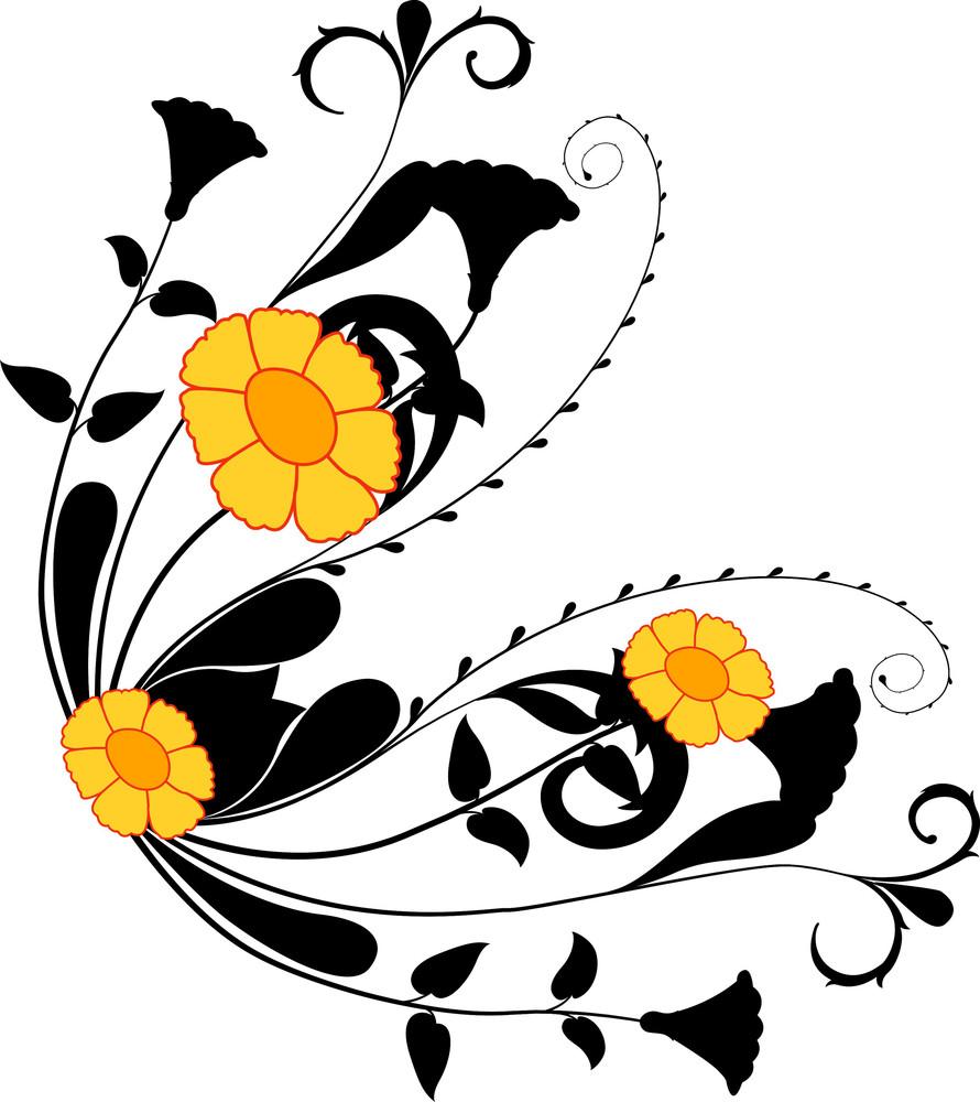 Yellow Flowers Swirl Silhouettes