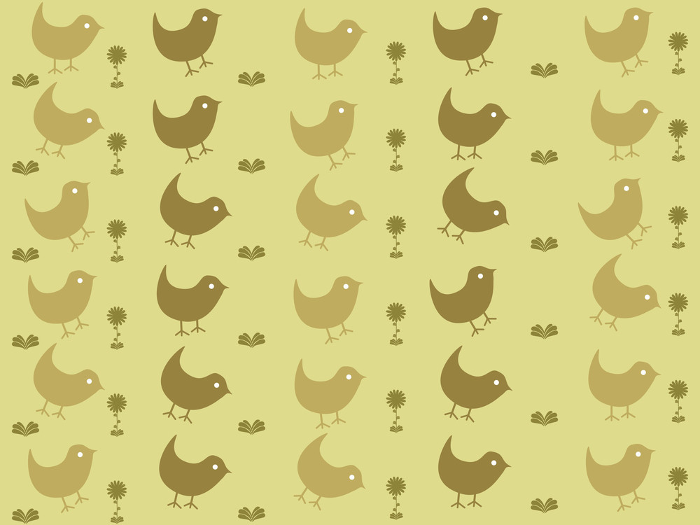 Yellow-green Background With Group Of Birds