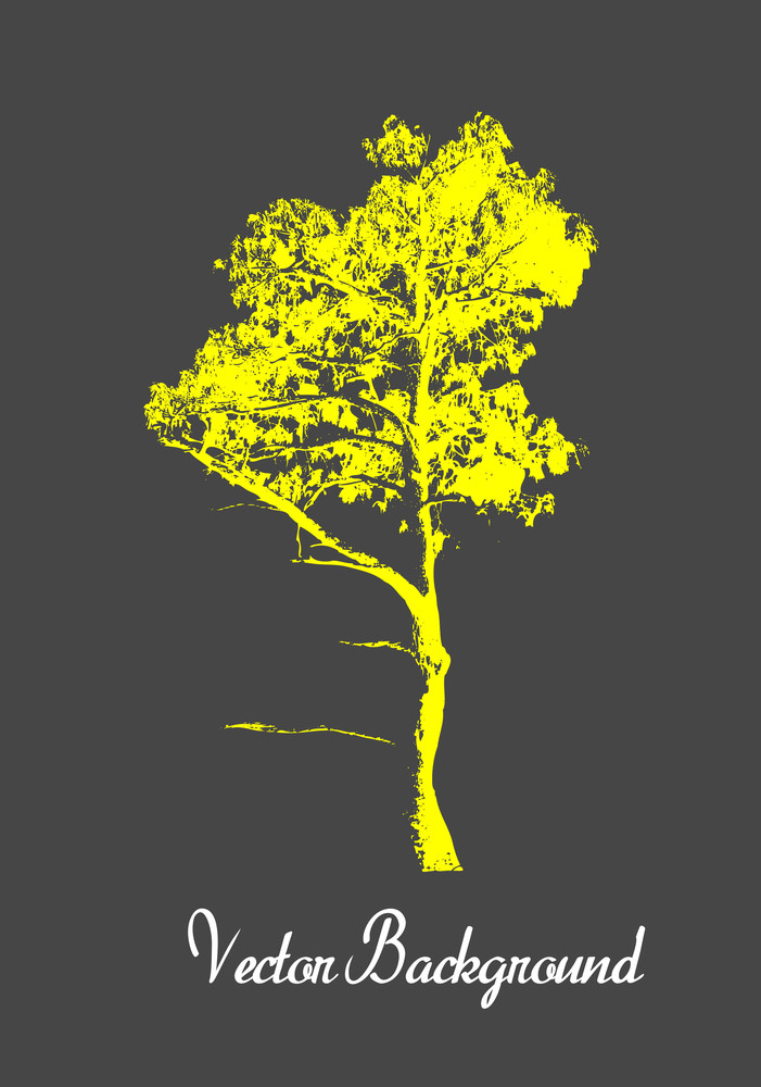 Yellow Grunge Tree Silhouette