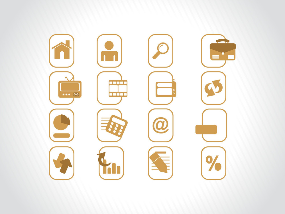 Yellow Icons Set For Website