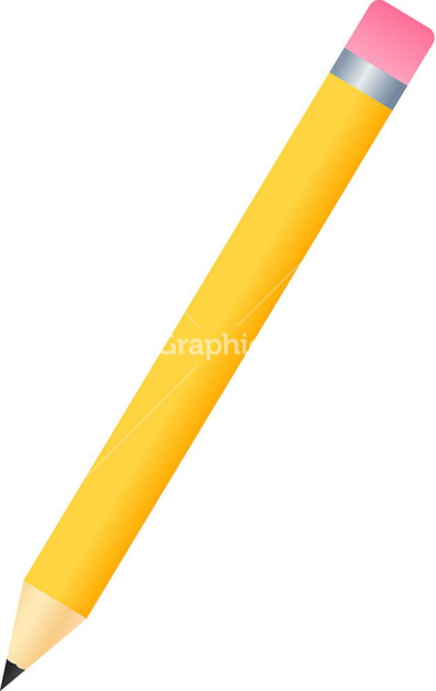 Yellow Pencil Icon On White Background