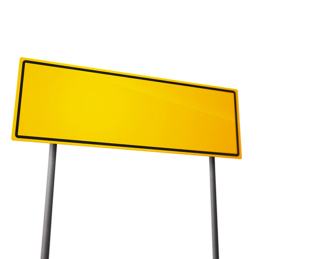 Yellow Road Sign Isolated On White
