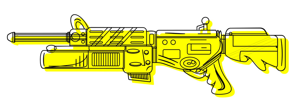 Yellow Shooting Gun Drawing