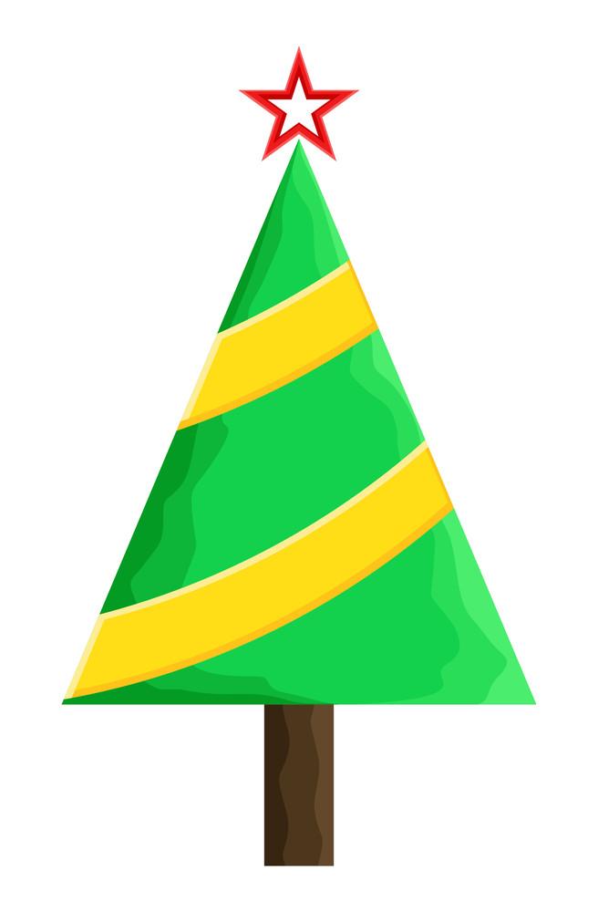 Yellow Striped Green Christmas Tree