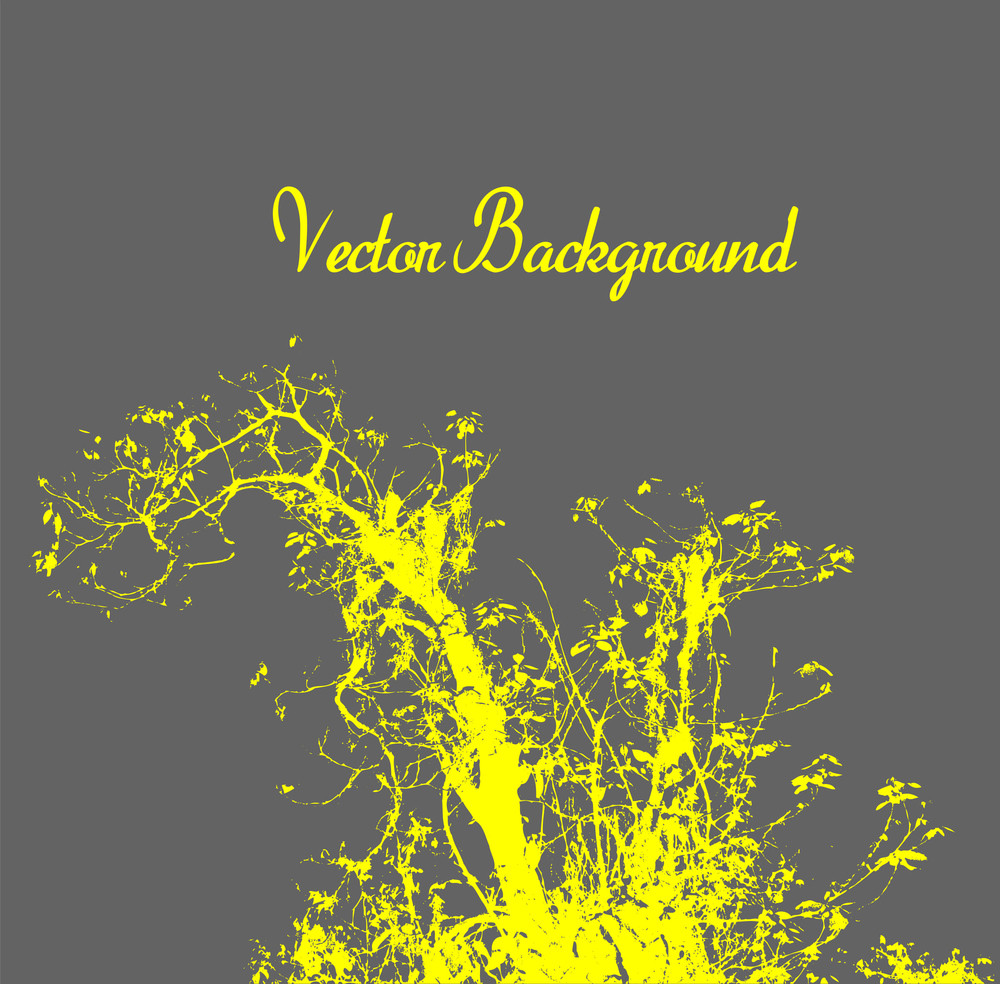 Yellow Tree Silhouette Template Design
