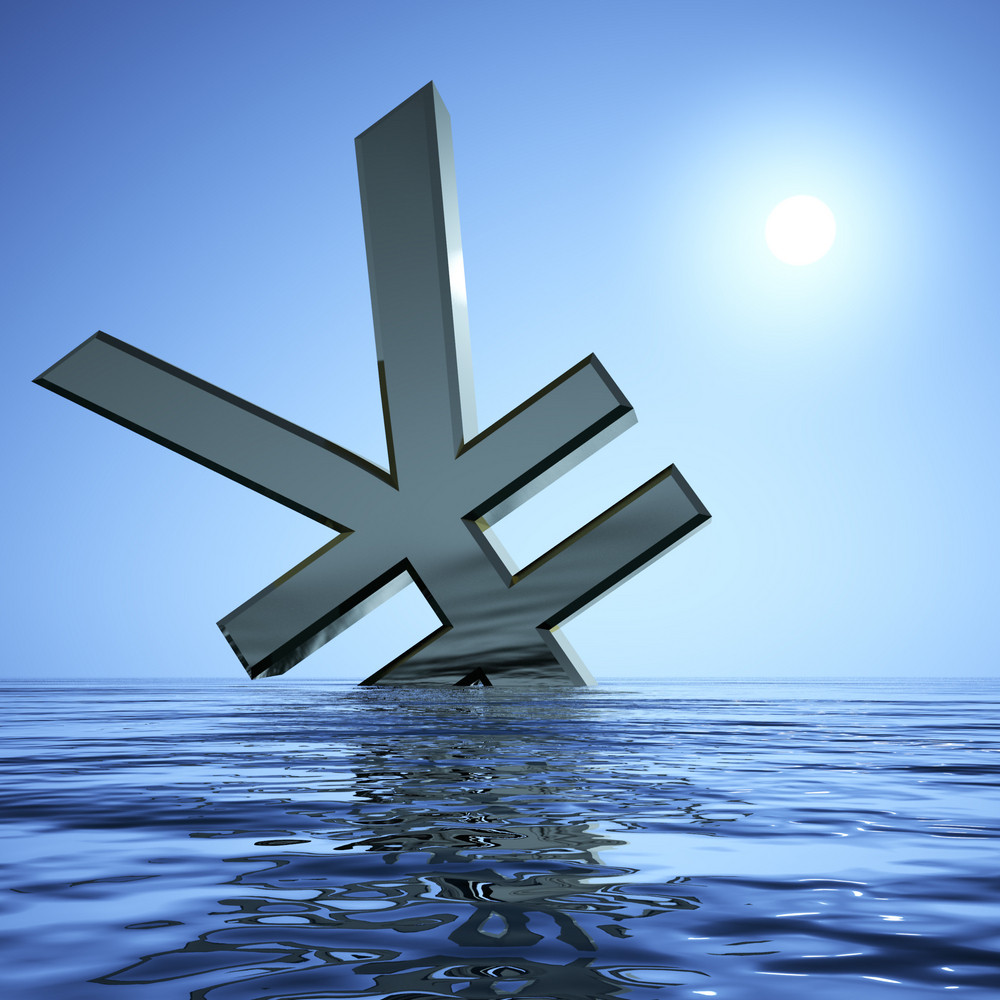 Yen Sinking In The Sea  Showing Depression Recession And Economic Downturn
