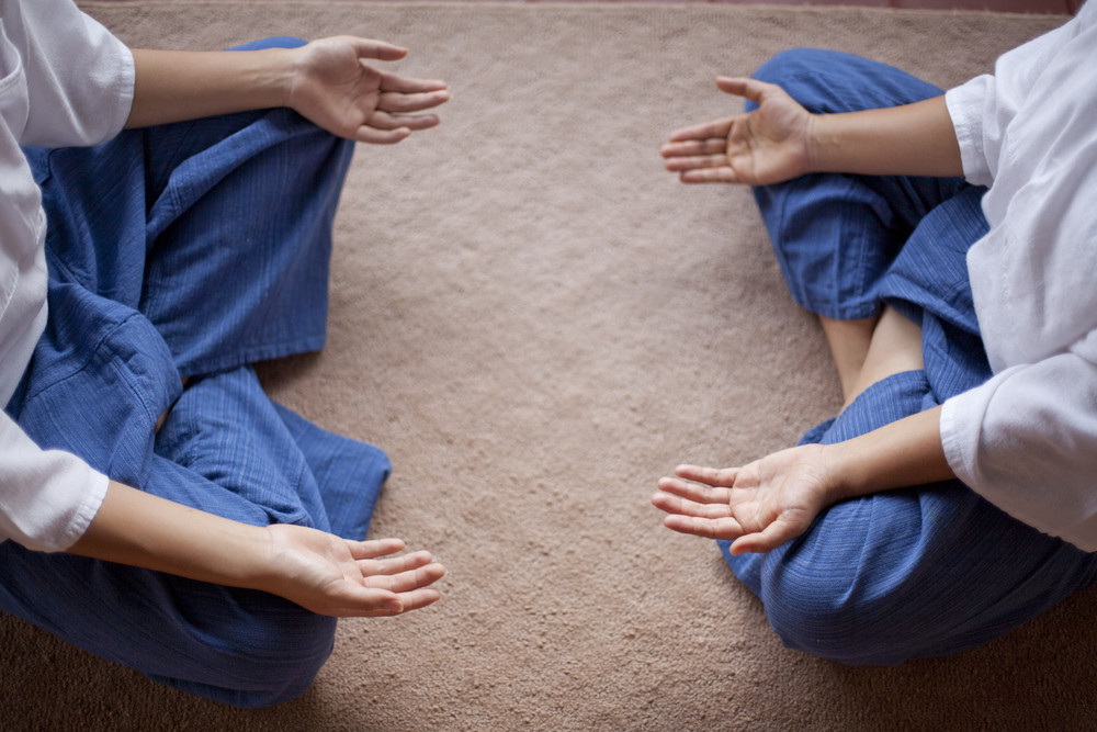 Yoga hands meditate zen style