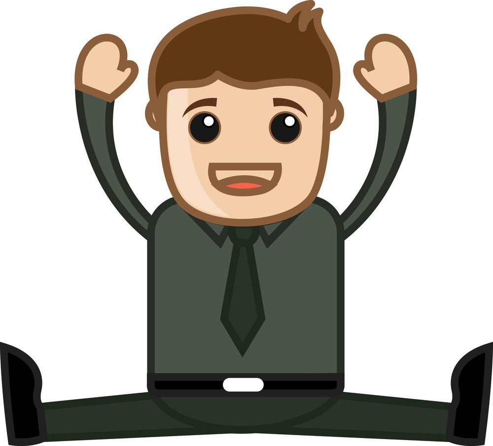 Yoga In Office - Business Cartoon Character Vector