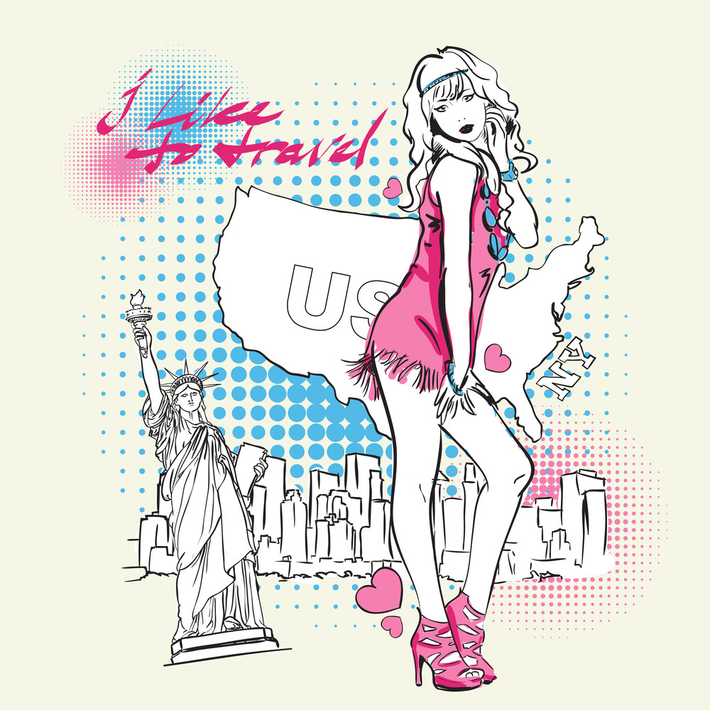 Yong Girl In Sketch-style On A Usa-background. Vector Illustration.