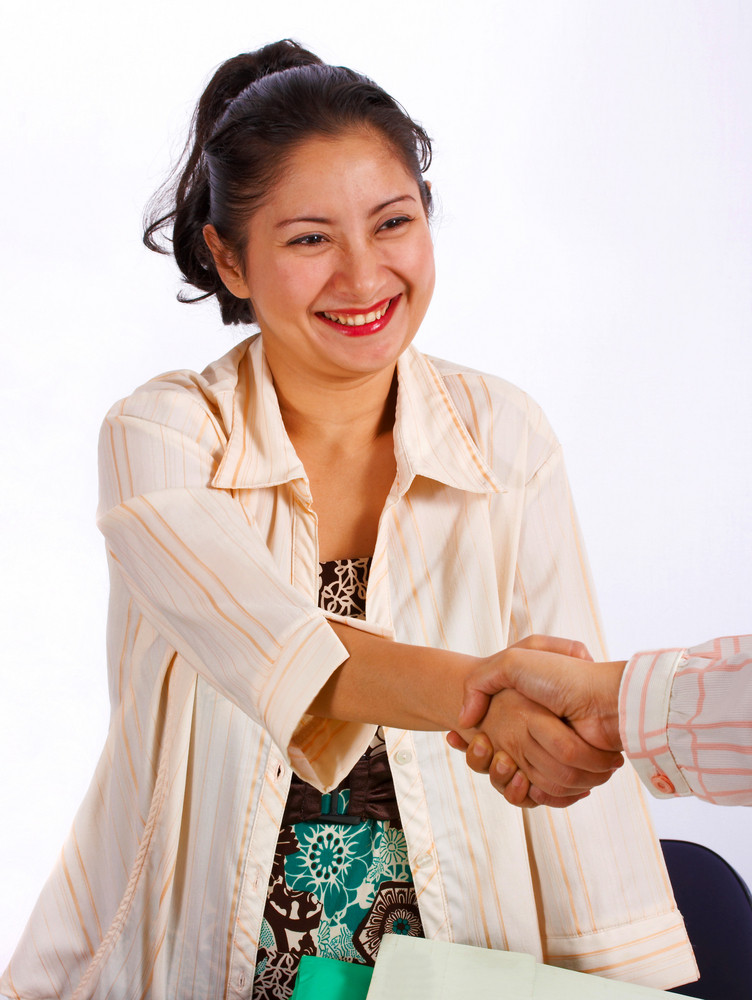 Young Asian Woman Shaking Hands