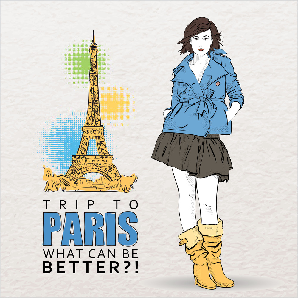 Young Autumnal Girl On A Eiffel Tower Background. Vector Illustration