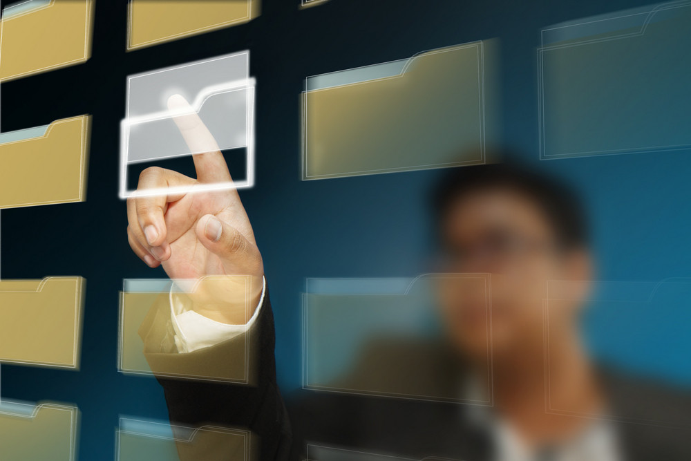 Young Business Man Select Folder