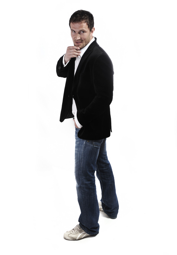 64e7f04d440 young casual man full body in a white background Royalty-Free Stock ...