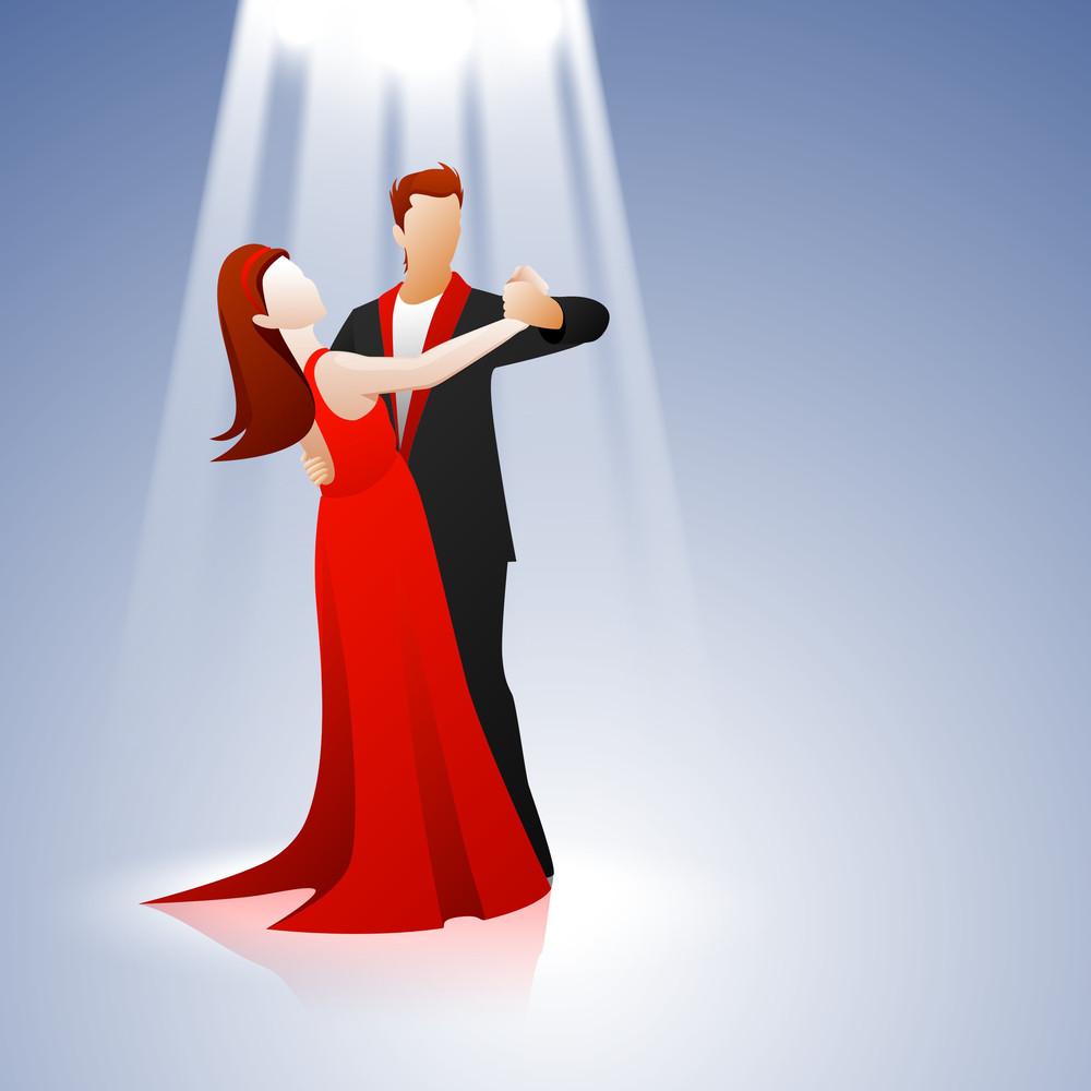 Young Couple Dancing On Blue Background