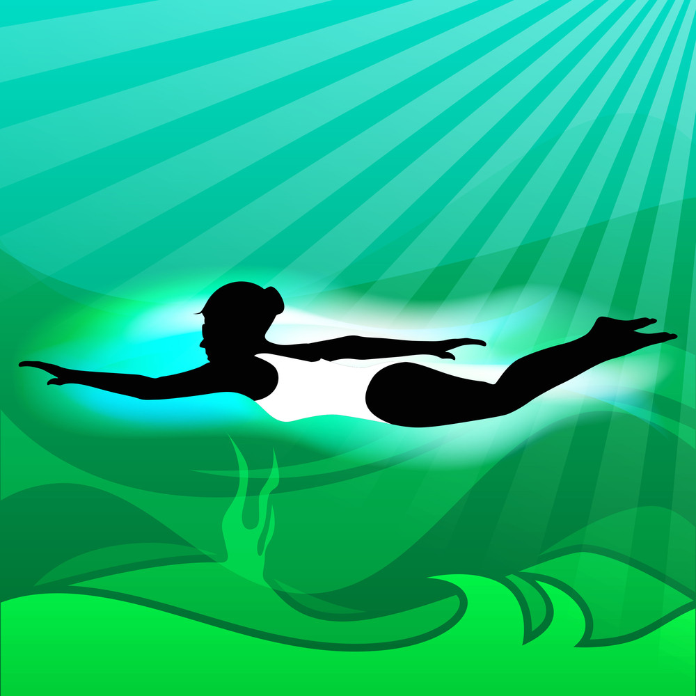 Young Girl Doing Wonderful Synchronized Swimming In Pool With Abstract Wave In Water Background