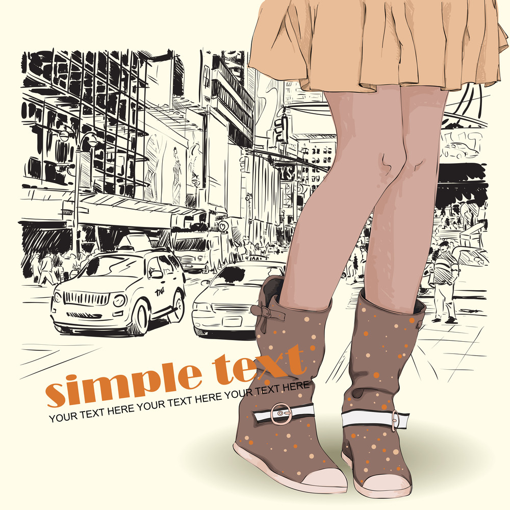 Young Girl In Boots On A City Background. Vector Illustration