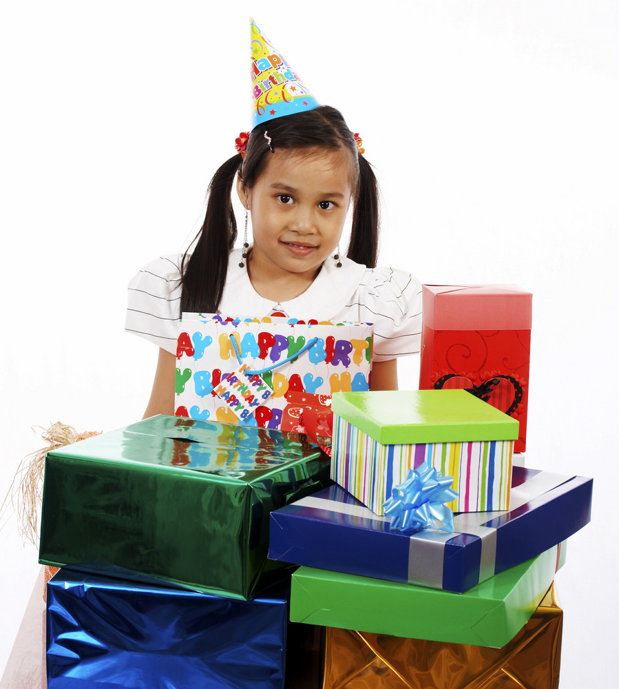 Young Girl Receiving Many Presents