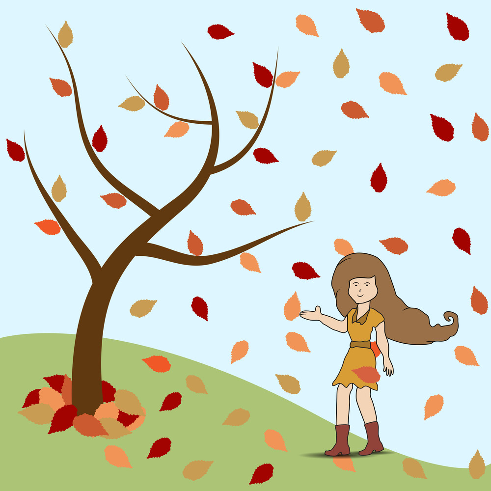 Young Girl Standing Under The Tree In Autumn Season..
