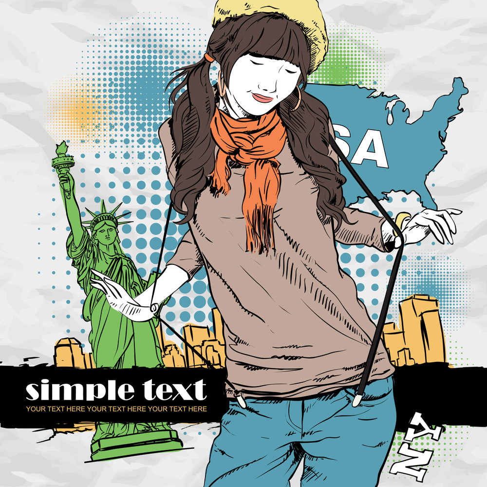 Young Girl With Beret  In Sketch-style On A Usa-background. Vector Illustration.