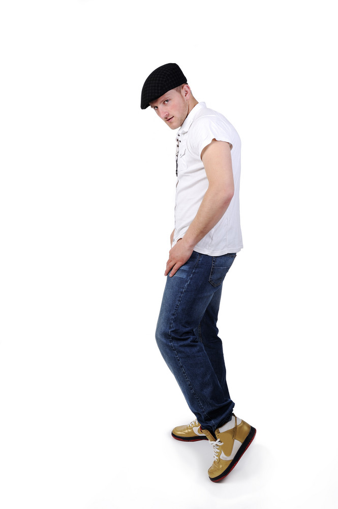 Young man full body in a white background