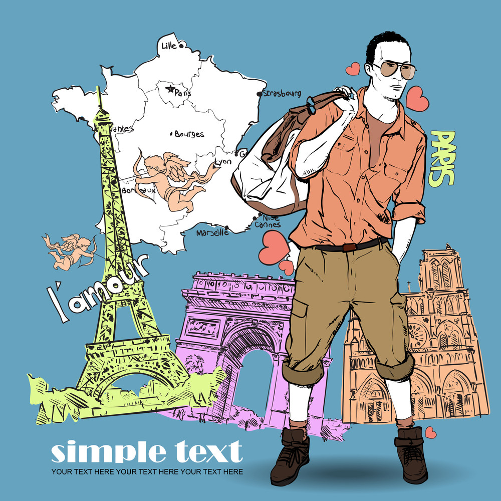 Young Men With Bag And Glasses In Sketch-style On A French-background. Vector Illustration.