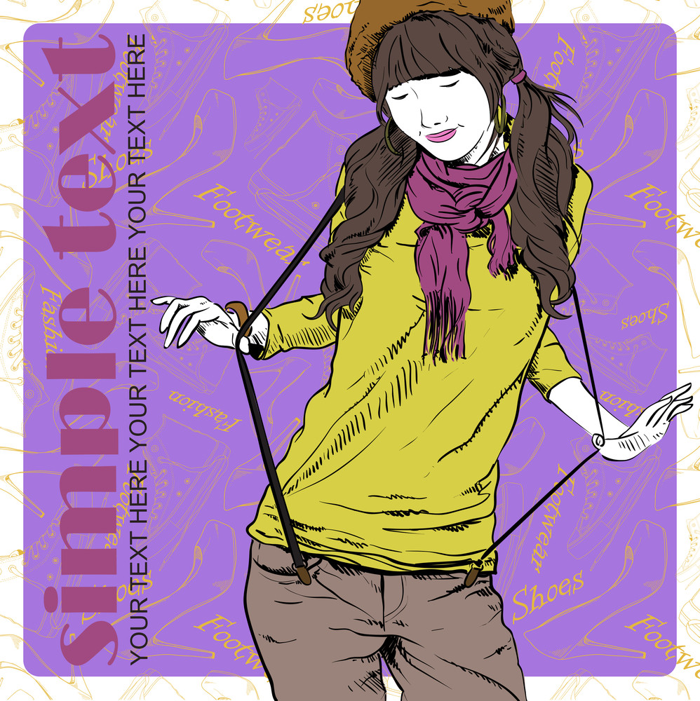 Young Pretty Girl On A Fashion Background. Vector Illustration.