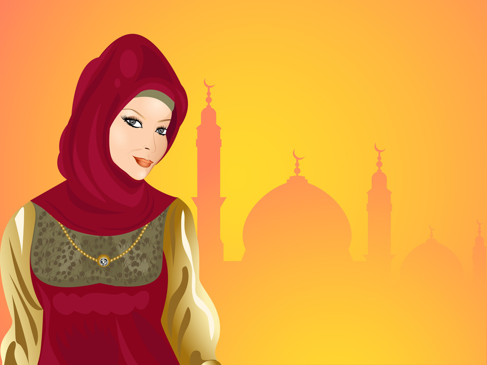 Young Smiling Beautiful Muslim Girl With Seamless Mosque Background.