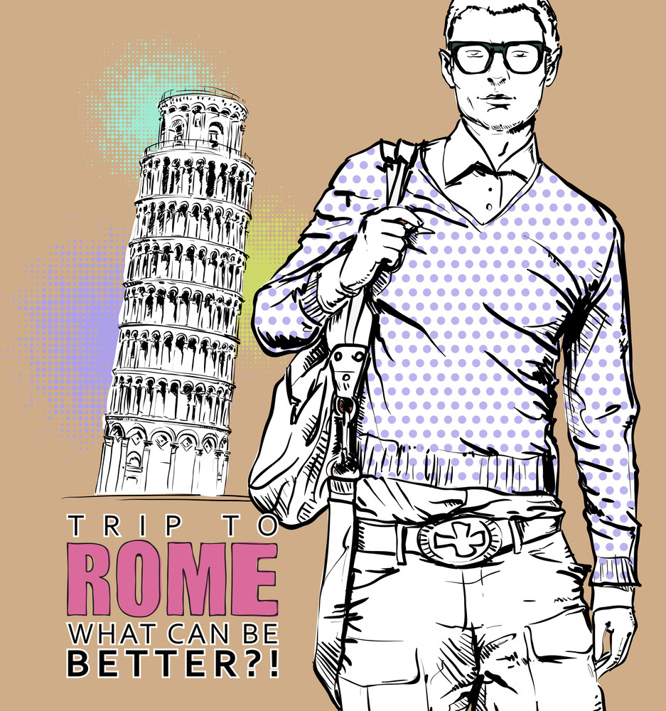 Young Stylish Guy On A Italian Background. Vector Illustration.