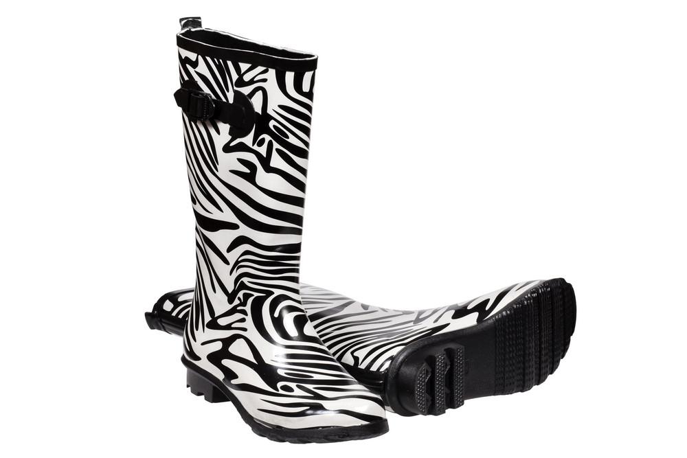 Zebra Pattern Rubber Boots