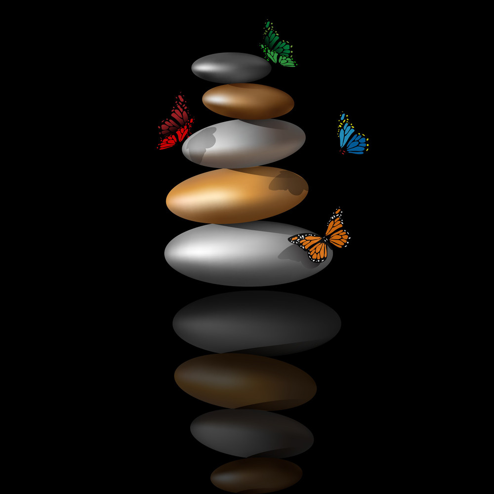 Zen Stone Tower With Butterflies