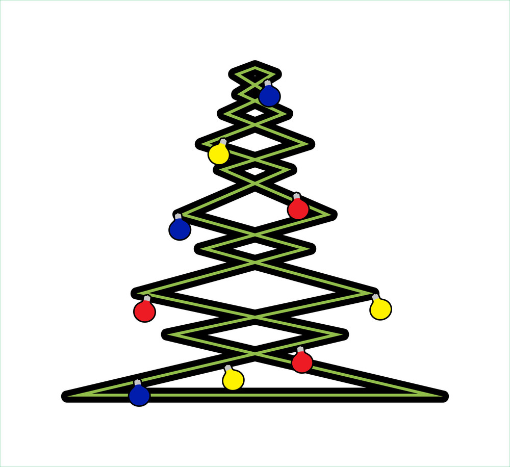 Zig Zag Christmas Tree With Decorative Balls