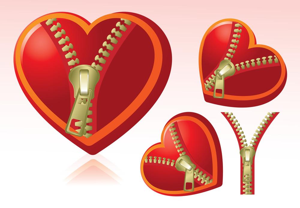 Zipped Hearts. Vector.