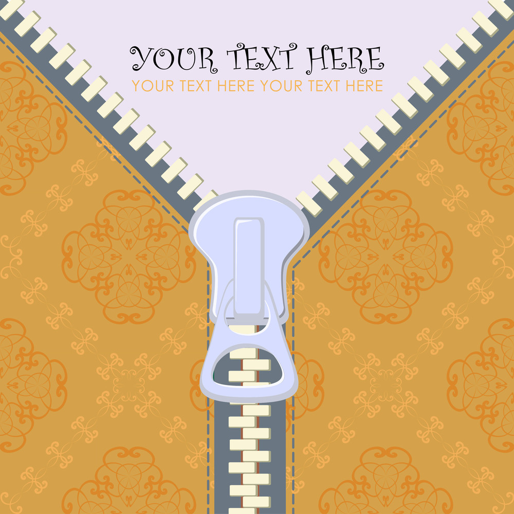 Zipper Greeting Card. Vector Illustration.