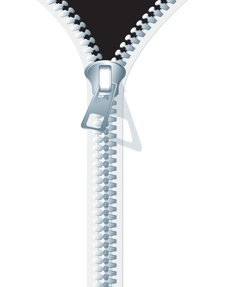 Zipper On White. Vector.