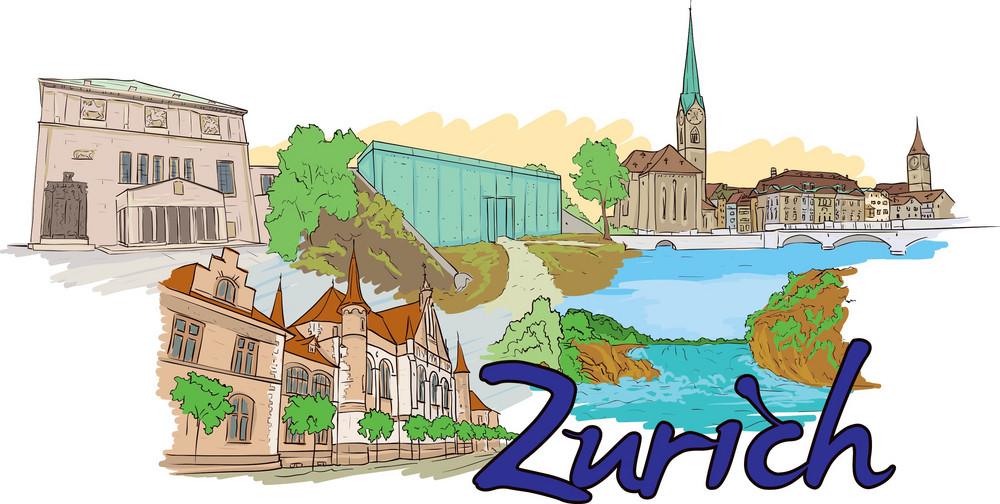 Zurich Vector Doodle