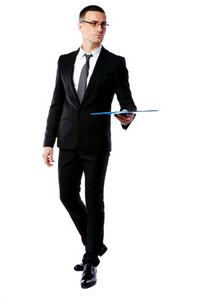 Portrait of a confident businessman holding folder isolated on a white background