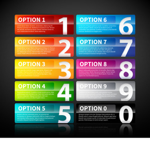 10 Colorful Glossy Banners With Numbers From Zero To Nine.