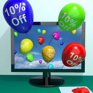 10% Off Balloons From Computer Showing Sale Discount Of Ten Percent Online